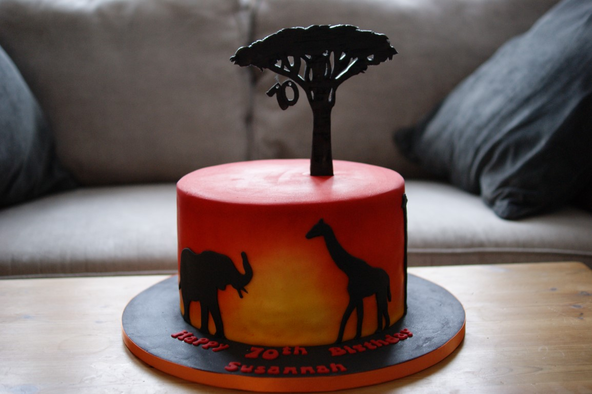 Peachy Sunset Safari Birthday Cake Bakealous Funny Birthday Cards Online Alyptdamsfinfo