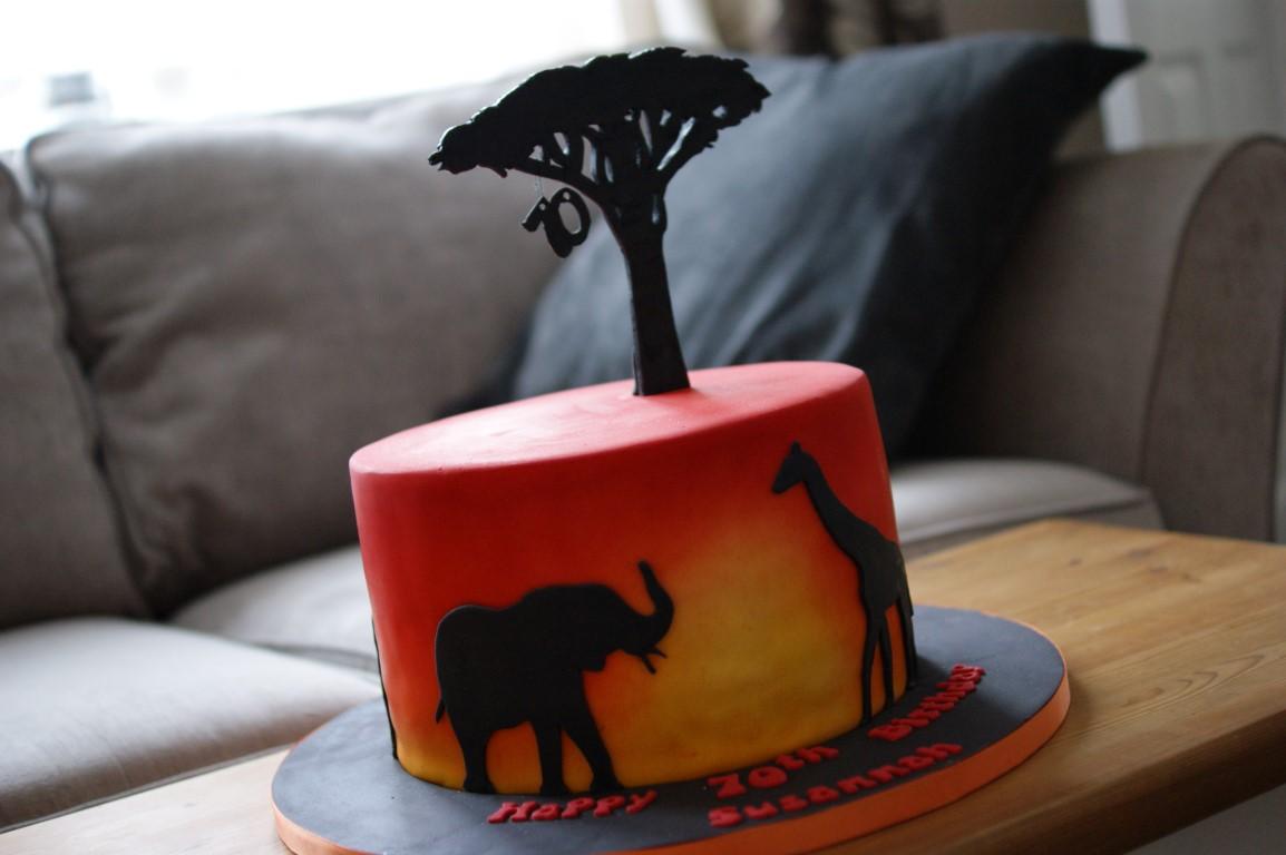 Wondrous Sunset Safari Birthday Cake Bakealous Funny Birthday Cards Online Alyptdamsfinfo