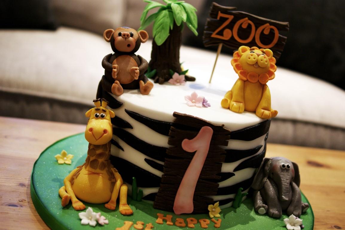Zoo 1st Birthday Cake With Cupcakes Bakealous