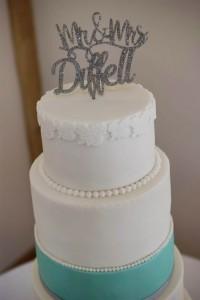 tiffany blue bow wedding cake