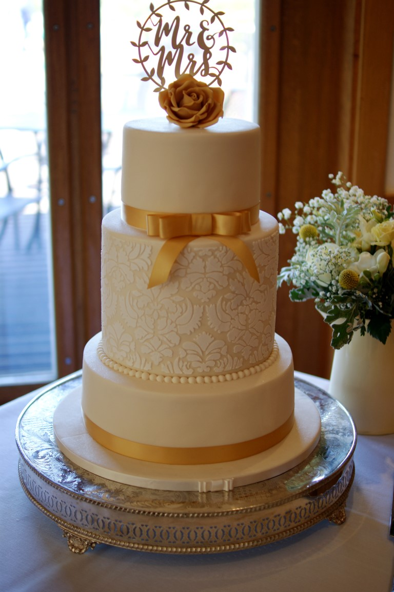 Vintage Gold Lace Wedding Cake 4 Bakealous
