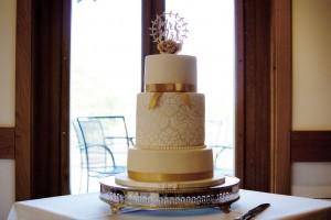 vintage gold lace stencil wedding cake