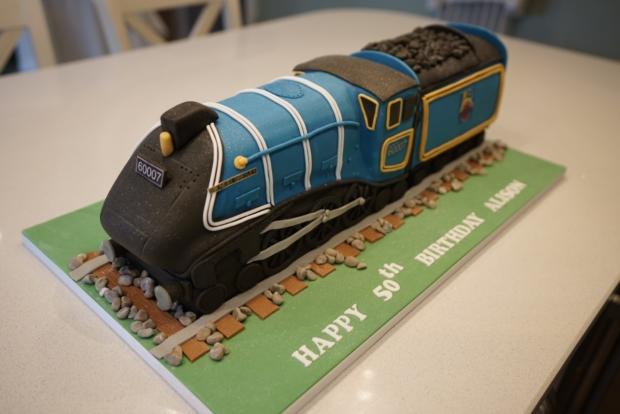 Amazing Sir Nigel Gresley Steam Train Birthday Cake Bakealous Personalised Birthday Cards Veneteletsinfo